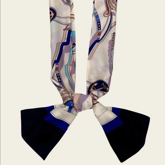 Nautical Theme Skinny Twilly Tie Scarf